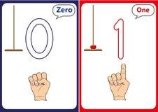 εκμάθηση των αριθμών 0-10, κάρτες λάμψης, εκπαιδευτικές προσχολικές δραστηριότητες Στοκ Φωτογραφίες