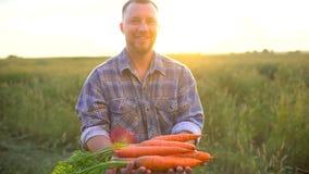 Εκμετάλλευση ατόμων αγροτών πορτρέτου OS στο οργανικό βιολογικό προϊόν χεριών των καρότων, έννοια: Οργανική καλλιέργεια, αγρόκτημ φιλμ μικρού μήκους
