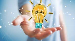Εκμετάλλευση επιχειρηματιών και σχετικά με ένα σκίτσο lightbulb διανυσματική απεικόνιση