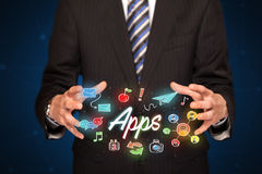 Εκμετάλλευση επιχειρηματιών apps Στοκ φωτογραφία με δικαίωμα ελεύθερης χρήσης