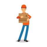 Εκμετάλλευση εργαζομένων υπηρεσιών παράδοσης cardbox, αγγελιαφόρος σε ομοιόμορφο στη διανυσματική απεικόνιση χαρακτήρα κινουμένων Στοκ Εικόνες