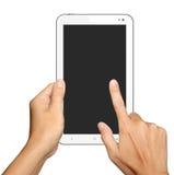Εκμετάλλευση και αφή χεριών στον υπολογιστή ταμπλετών στο λευκό Στοκ Εικόνες