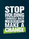 Εκμετάλλευση στάσεων οι ίδιοι πίσω Εάν δεν είστε ευτυχείς, κάνετε μια αλλαγή Διανυσματική έννοια αποσπάσματος κινήτρου ελεύθερη απεικόνιση δικαιώματος