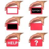 Εκμετάλλευση χεριών και παρουσίαση καρτών με τα μηνύματα κειμένου chlak Στοκ φωτογραφίες με δικαίωμα ελεύθερης χρήσης