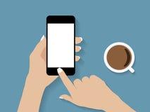 Εκμετάλλευση χεριών και τηλεφωνικό διάνυσμα αφής απεικόνιση αποθεμάτων
