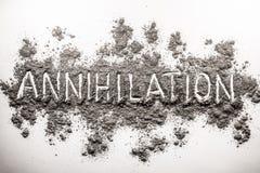 Εκμηδένιση λέξης που γράφεται στο χάος της τέφρας, σκόνη, ρύπος Στοκ φωτογραφίες με δικαίωμα ελεύθερης χρήσης