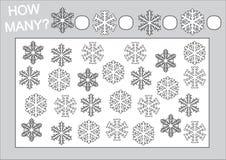 Εκπαίδευση για τα παιδιά Μετρήστε πόσες snowflake και χρωματίζοντας σελίδα διανυσματική απεικόνιση
