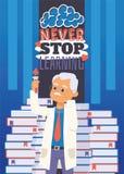 Εκπαίδευση και διανυσματική απεικόνιση έννοιας επιστήμης Το κείμενο Motivatng, δεν σταματά ποτέ Να κάνει τα πειράματα στο εργαστή στοκ εικόνα