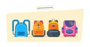 Εκπαίδευση και μελέτη, αποσκευές σχολικών τσαντών, σακίδια πλάτης με τις σχολικές προμήθειες ελεύθερη απεικόνιση δικαιώματος