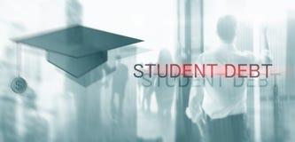 Χρέος σπουδαστών Εκπαίδευση και σκλαβιά έννοιας Σκιαγραφίες σπουδαστών στοκ εικόνες