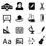 Εκπαίδευση και πίσω στο σύνολο σχολικών εικονιδίων Στοκ φωτογραφία με δικαίωμα ελεύθερης χρήσης