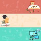 Εκπαίδευση, μαθαίνοντας on-line, σχολικά θέματα, διανυσματικά εμβλήματα Στοκ Εικόνα