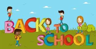 Εκπαίδευση πίσω στα κινούμενα σχέδια σχολικών παιδιών. Στοκ εικόνα με δικαίωμα ελεύθερης χρήσης