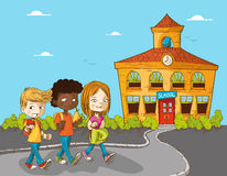 Εκπαίδευση πίσω στα παιδιά σχολικών κινούμενων σχεδίων. διανυσματική απεικόνιση