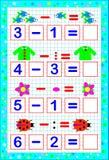 Εκπαιδευτική σελίδα για τα μικρά παιδιά σε τετραγωνικό χαρτί Ασκήσεις στην αφαίρεση Στοκ φωτογραφία με δικαίωμα ελεύθερης χρήσης