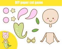 Εκπαιδευτικό δημιουργικό παιχνίδι παιδιών DIY Τέμνουσα δραστηριότητα εγγράφου Κάνετε μια γοργόνα με την κόλλα διανυσματική απεικόνιση