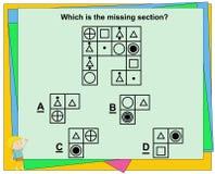 Εκπαιδευτικό παιχνίδι για τα παιδιά, παιχνίδι δείκτη νοημοσύνης, φύλλο εργασίας ερωτήσεων πρακτικής για την εκπαίδευση και δοκιμή ελεύθερη απεικόνιση δικαιώματος