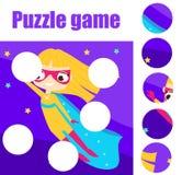Εκπαιδευτικό παιχνίδι παιδιών μικρά παιδιά γρίφων Τα κομμάτια αντιστοιχιών και ολοκληρώνουν την εικόνα Μύγα Supergirl διανυσματική απεικόνιση