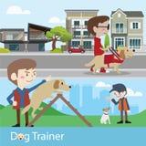 Εκπαιδευτής σκυλιών που εκπαιδεύει τη διανυσματική απεικόνιση Στοκ Εικόνα