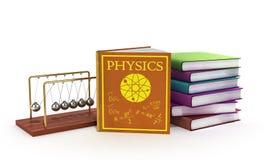 Εκπαιδευτικά βιβλία στην τρισδιάστατη απεικόνιση φυσικής στο λευκό Στοκ Εικόνες