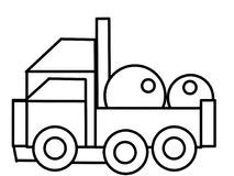 Εκπαιδευτικές χρωματίζοντας σελίδες παιδιών φορτηγών Στοκ φωτογραφίες με δικαίωμα ελεύθερης χρήσης