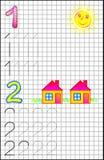 Εκπαιδευτική σελίδα για τα παιδιά σε τετραγωνικό χαρτί με τους αριθμούς 1 και 2 Στοκ φωτογραφίες με δικαίωμα ελεύθερης χρήσης