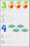 Εκπαιδευτική σελίδα για τα παιδιά σε τετραγωνικό χαρτί με τους αριθμούς 3 και 4 Στοκ Φωτογραφίες
