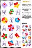 Εκπαιδευτικός γρίφος math με τα μέρη διανυσματική απεικόνιση