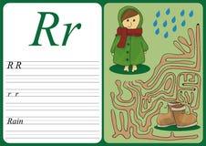 Εκπαιδευτικό παιχνίδι για να μάθει τη γραφή με το εύκολο επίπεδο τυχερού παιχνιδιού για τα παιδιά Ρ - βροχή Στοκ φωτογραφία με δικαίωμα ελεύθερης χρήσης