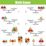Εκπαιδευτικό παιχνίδι μαθηματικών για τα παιδιά ισορροπήστε την κλίμακα ελεύθερη απεικόνιση δικαιώματος