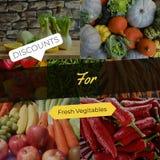 Εκπτώσεις για τα φρέσκα λαχανικά στοκ εικόνα