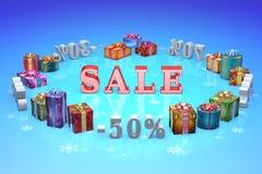 Εκπτώσεις Χριστουγέννων (πρακτική ντάμπινγκ, %, ποσοστά, αγορά, πώληση) Στοκ φωτογραφίες με δικαίωμα ελεύθερης χρήσης