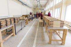 Εκρηκτικές ύλες πυραύλων στα κιβώτια σε ένα εργοστάσιο πυρομαχικών Στοκ εικόνα με δικαίωμα ελεύθερης χρήσης