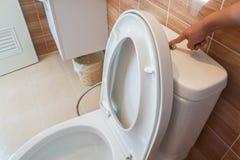 Εκροή γυναικών το κύπελλο τουαλετών για την υγιεινή στοκ εικόνα