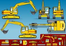 εκσκαφέας πέντε ορθογώνια θέση κίτρινη απεικόνιση αποθεμάτων