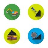 Εκσκαφέας, σήραγγα, ανελκυστήρας, θεριστική μηχανή άνθρακα και άλλος εξοπλισμός Καθορισμένα εικονίδια συλλογής ορυχείου στο επίπε ελεύθερη απεικόνιση δικαιώματος