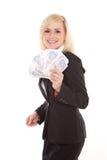 εκστατική fistful γυναίκα χρημάτων Στοκ φωτογραφίες με δικαίωμα ελεύθερης χρήσης