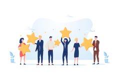 Εκτίμηση αναθεώρησης πελατών Οι διαφορετικοί άνθρωποι δίνουν την εκτίμηση αναθεώρησης και ανατροφοδοτούν r ελεύθερη απεικόνιση δικαιώματος
