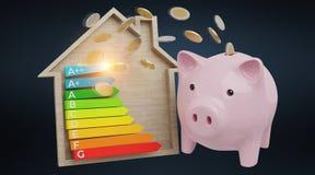 Εκτίμηση ενεργειακών διαγραμμάτων και piggy απόδοση απεικόνισης τραπεζών τρισδιάστατη ελεύθερη απεικόνιση δικαιώματος
