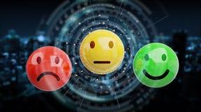 Εκτίμηση ικανοποίησης πελατών με την τρισδιάστατη απόδοση smiley Στοκ Φωτογραφίες