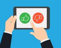 Εκτίμηση στη εξυπηρέτηση πελατών Ψηφοφορία μέσω της ταμπλέτας απεικόνιση αποθεμάτων