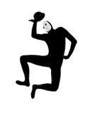 Εκτελεστής mime με τον ευτυχή χαιρετισμό μασκών Στοκ Εικόνες