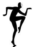 Εκτελεστής mime με το αστείο περπάτημα μασκών Στοκ Εικόνα