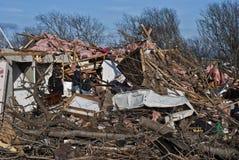Εκτενής καταστροφή μετά από τον ανεμοστρόβιλο Στοκ Εικόνες