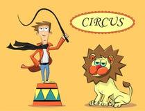 Εκτελεστής τσίρκων και το λιοντάρι Στοκ Εικόνα