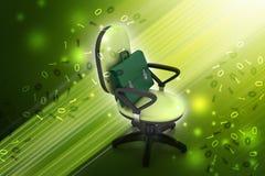 Εκτελεστική καρέκλα με το χαρτοφύλακα Στοκ Φωτογραφίες