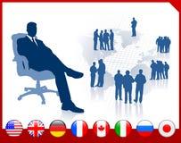 Εκτελεστικός επιχειρηματίας με τα κουμπιά σημαιών Διαδικτύου διανυσματική απεικόνιση