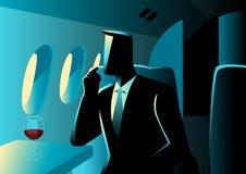 Εκτελεστικός επιχειρηματίας στο ιδιωτικό αεριωθούμενο αεροπλάνο διανυσματική απεικόνιση