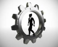 Εκτελεστικός εργαζόμενος που περπατά μέσα σε ένα εργαλείο διανυσματική απεικόνιση