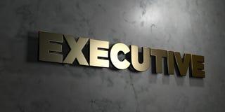 Εκτελεστικός - το χρυσό σημάδι τοποθέτησε στο στιλπνό μαρμάρινο τοίχο - τρισδιάστατο δικαίωμα ελεύθερη απεικόνιση αποθεμάτων διανυσματική απεικόνιση